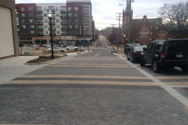 Photo showing finished city street project and new pavement