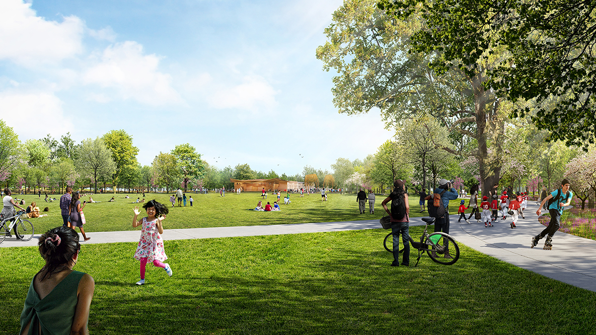 Unity Park rendering of large lawn area