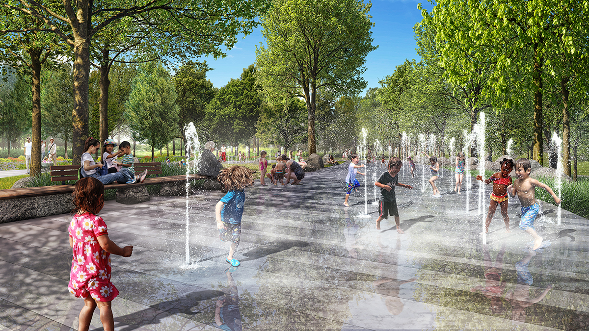 Unity Park rendering of interactive water fountain area