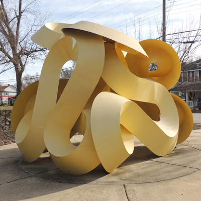 The Aria sculpture, prior to its scheduled repainting and move this summer.