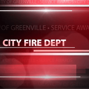 Banner that says City Fire Department Service Awards