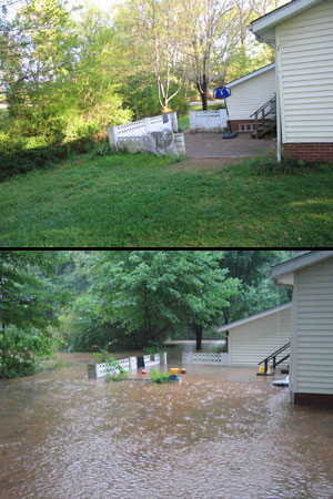 Before-after photo of a backyard covered with flood water above the fence and patio