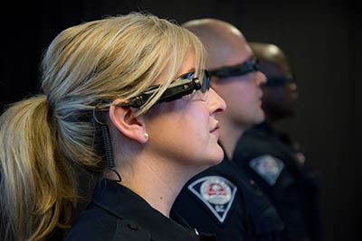Side view showing camera mounted on eyeglasses